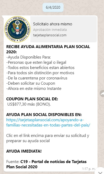 Ayuda alimentaria plan social 2020