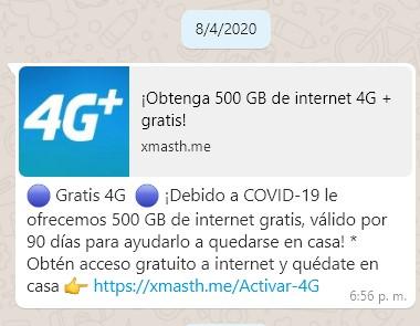Obtenga 500 GB de internet 4G Gratis